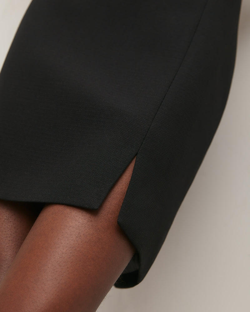Black slit mini skirt