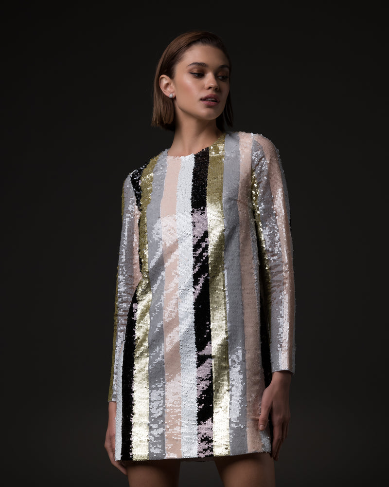 Straight cut mini dress in vertical sequins