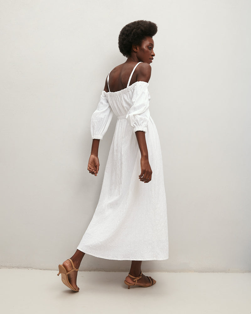 White sundress with open shoulders