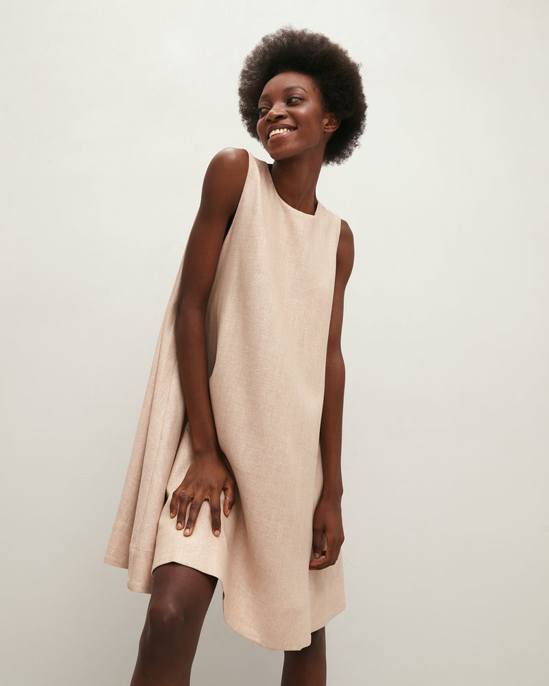Beige linen mini dress