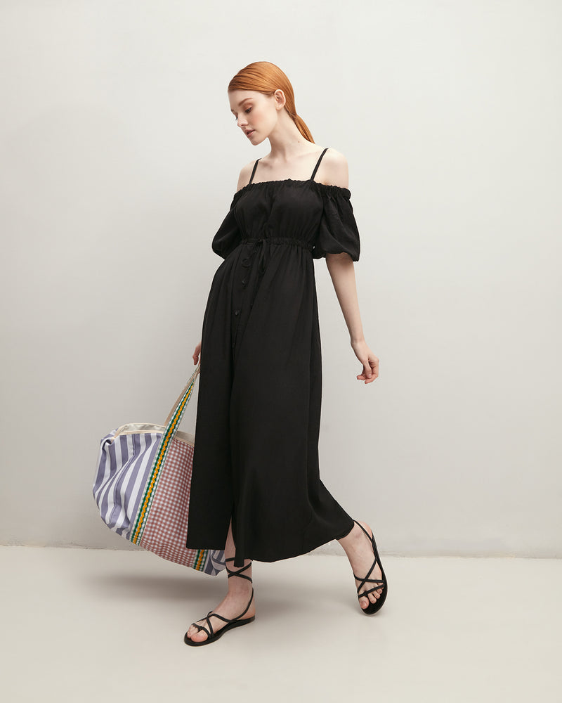 Black sundress with open shoulders