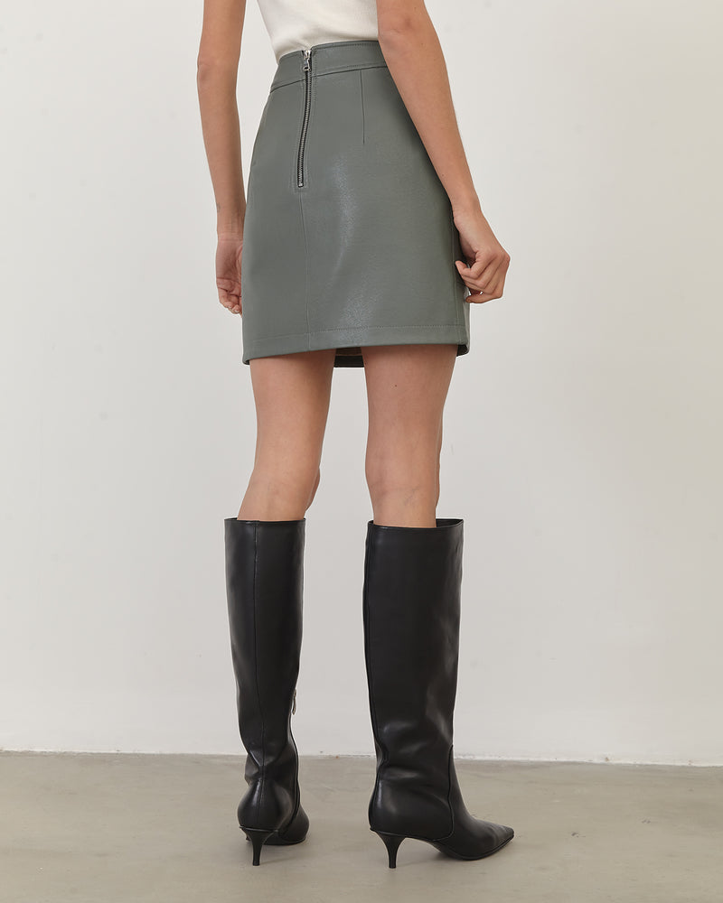 Olive-colored eco-leather mini skirt