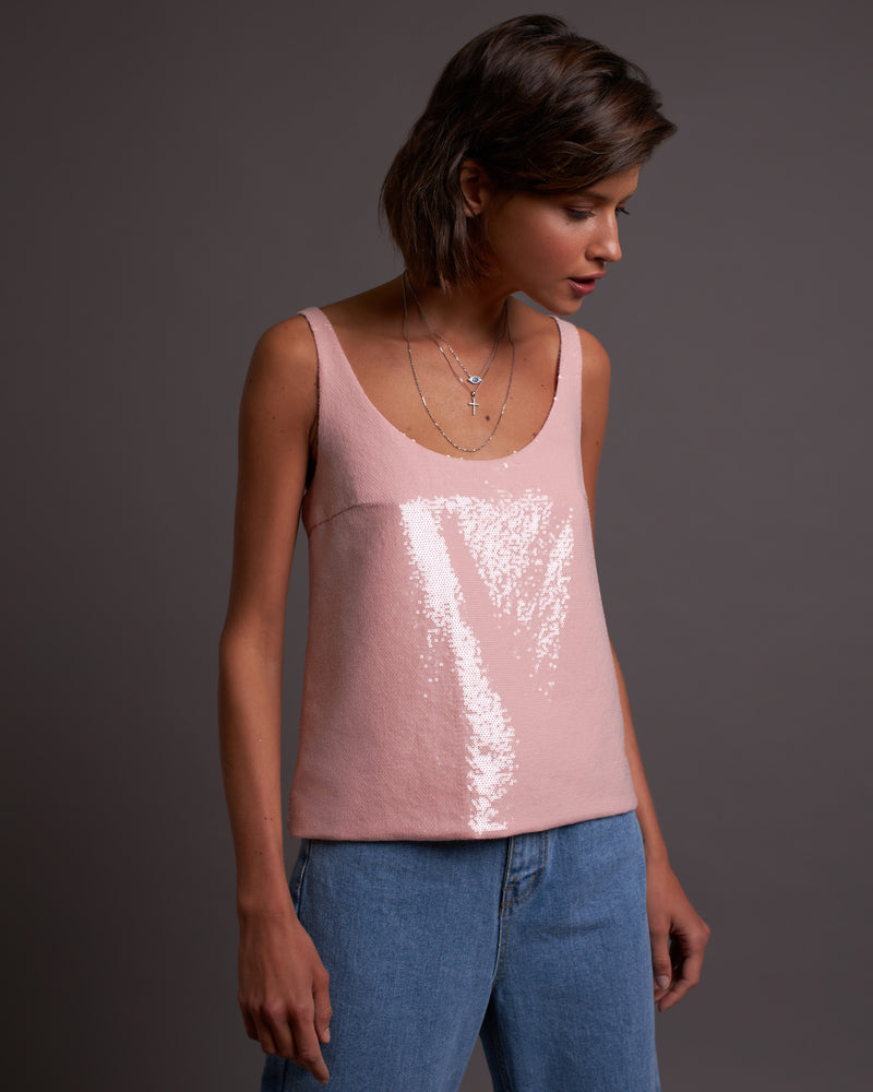 Light pink sequin top