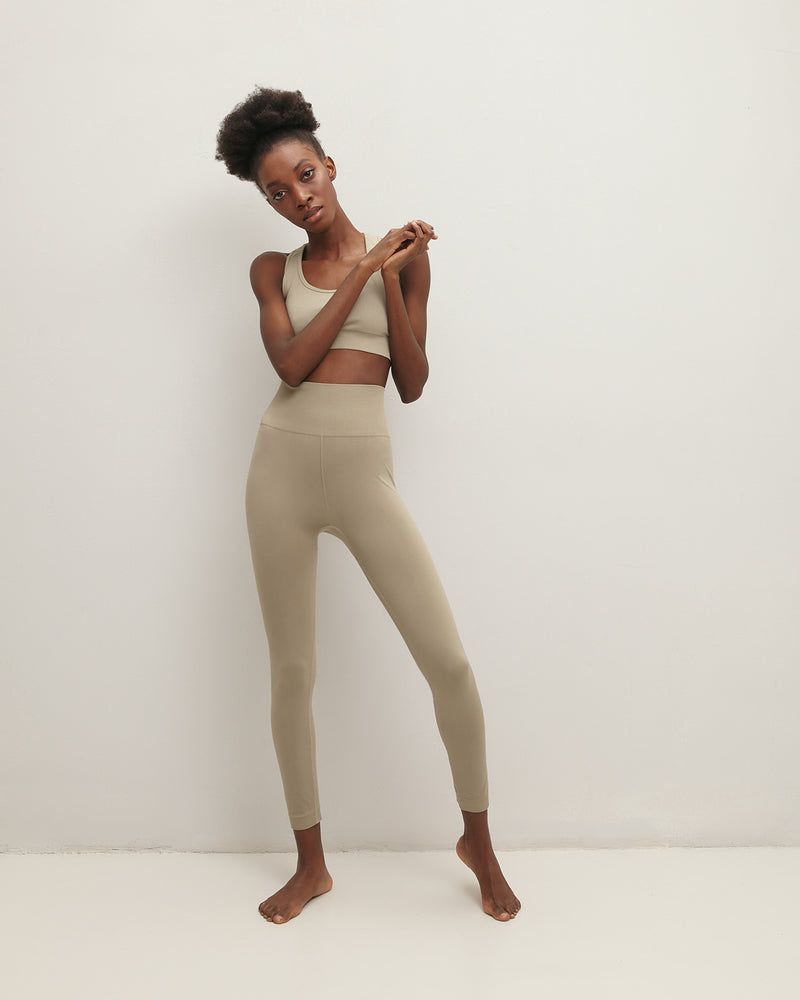 Khaki sports leggings