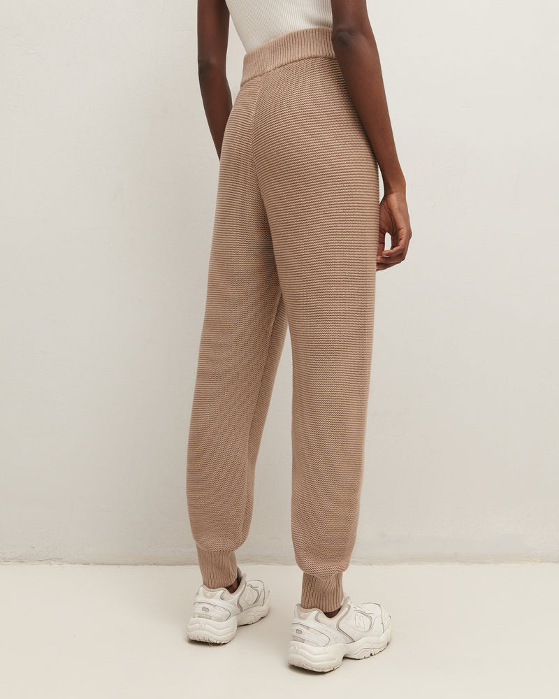 Beige knitted trousers