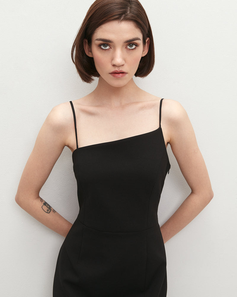 Black asymmetrical midi dress