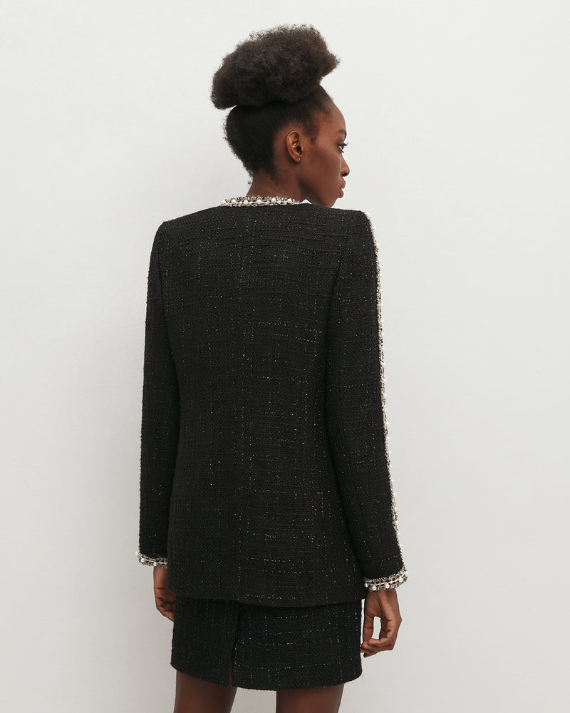 Black tweed jacket with pearls