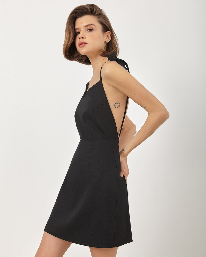 Black mini dress with open back