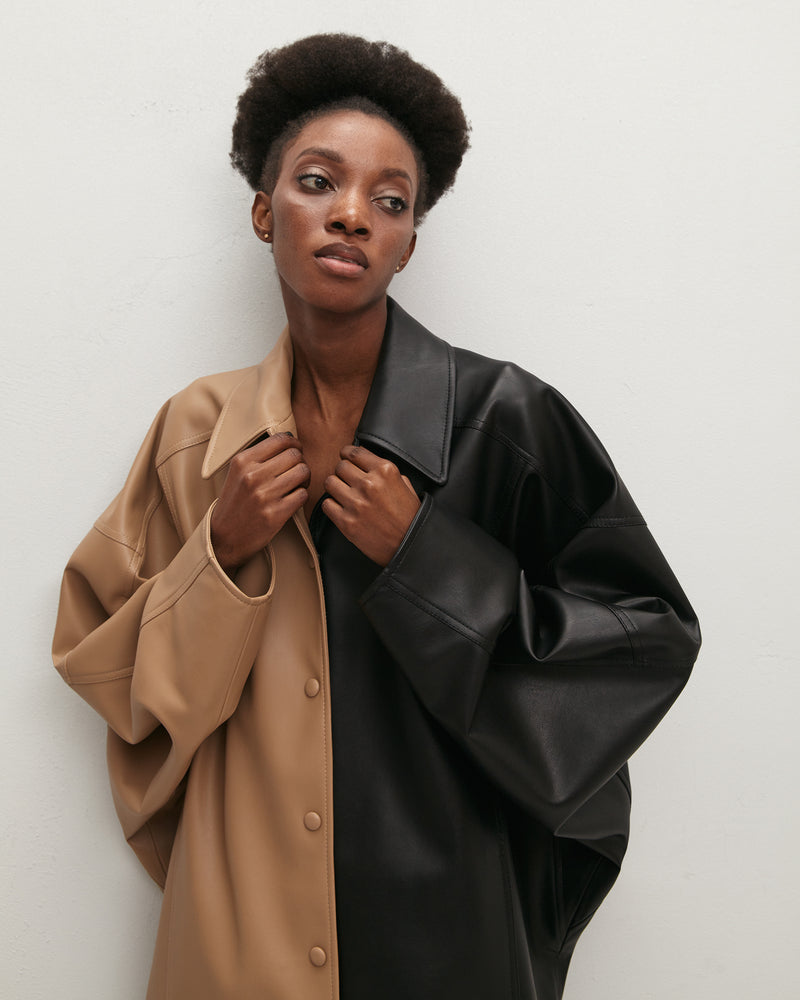 Eco-leather double shirt