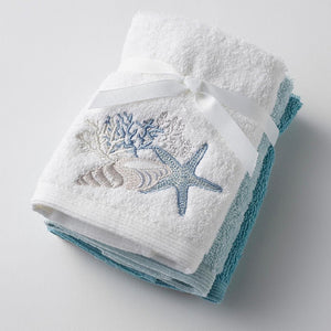 SEASIDE EMBROIDERED FACE WASHER 3PACK