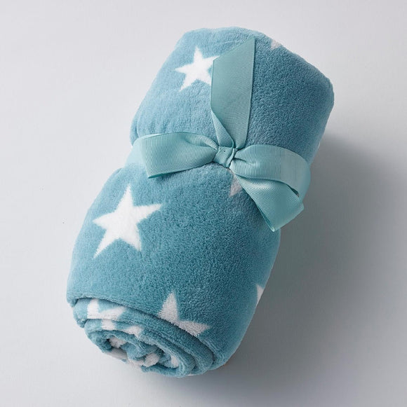 AQUA WITH WHITE STARS BABY BLANKET