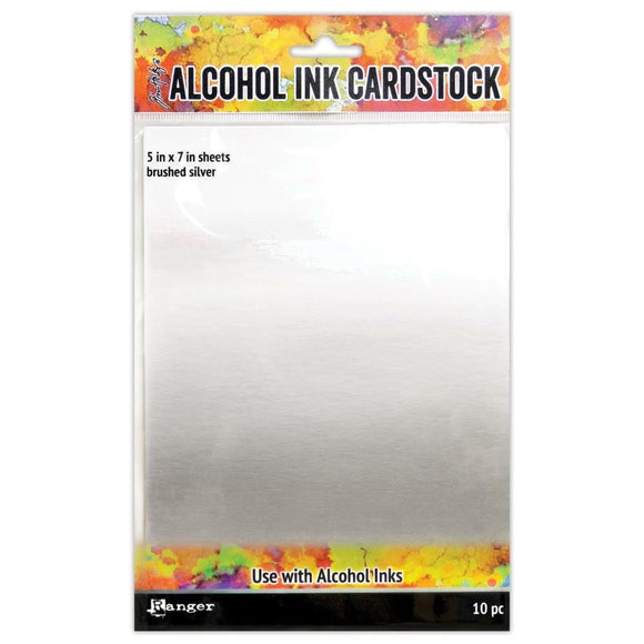ALCOHOL INK CARD STOCK - BRUSHED SILVER