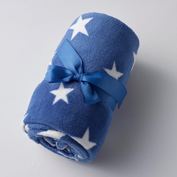 NAVY WITH WHITE STARS BABY BLANKET