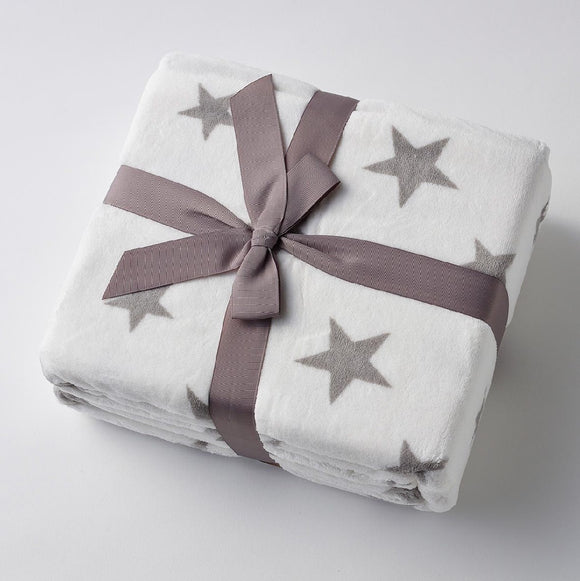 WHITE WITH GREY STARS THROW