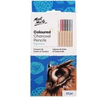 COLOURED CHARCOAL PENCILS 12PCE MPN0042