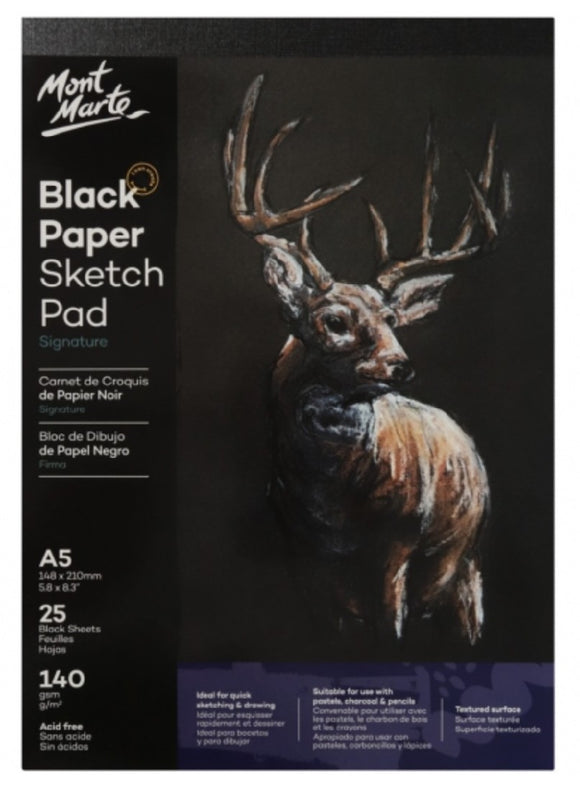 Black Paper Sketch Pad 25 sheet 140gsm A5
