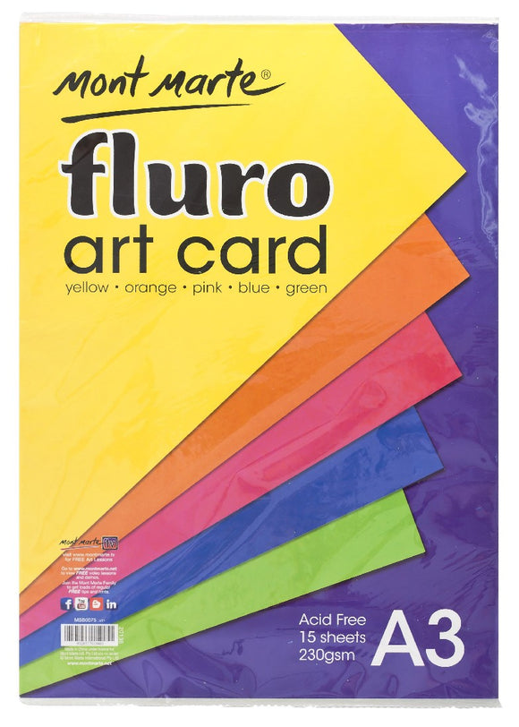 Fluro Art Card Pack 5 cols 230gsm 15pce A3