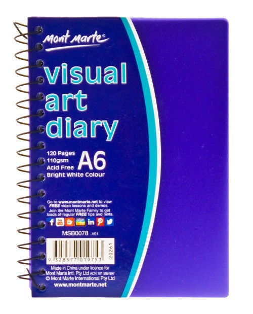 Visual Art Diary PP Coloured Cover A6 MSB0078