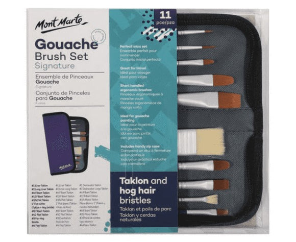 Brush Set in Wallet 11pc - Gouache