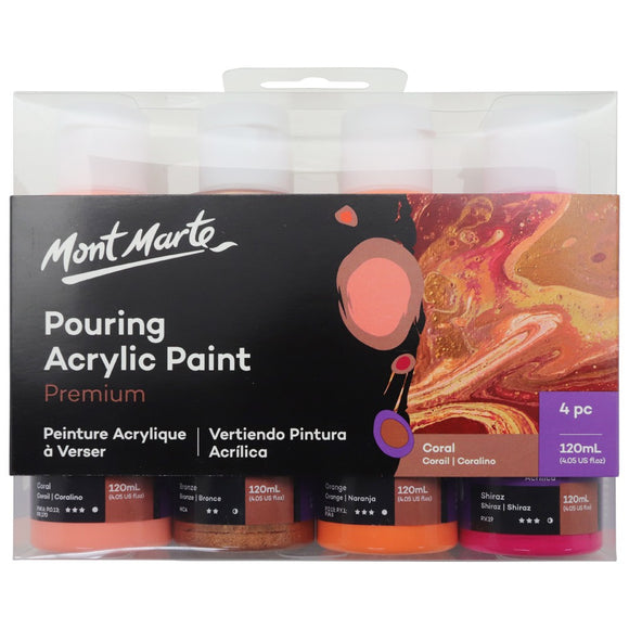 Pouring Acrylic 120ml 4pc - Coral