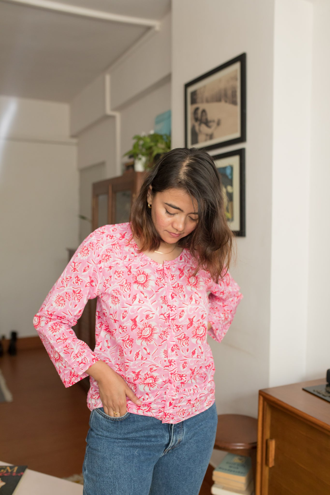 pink & red hand block printed cotton summer top