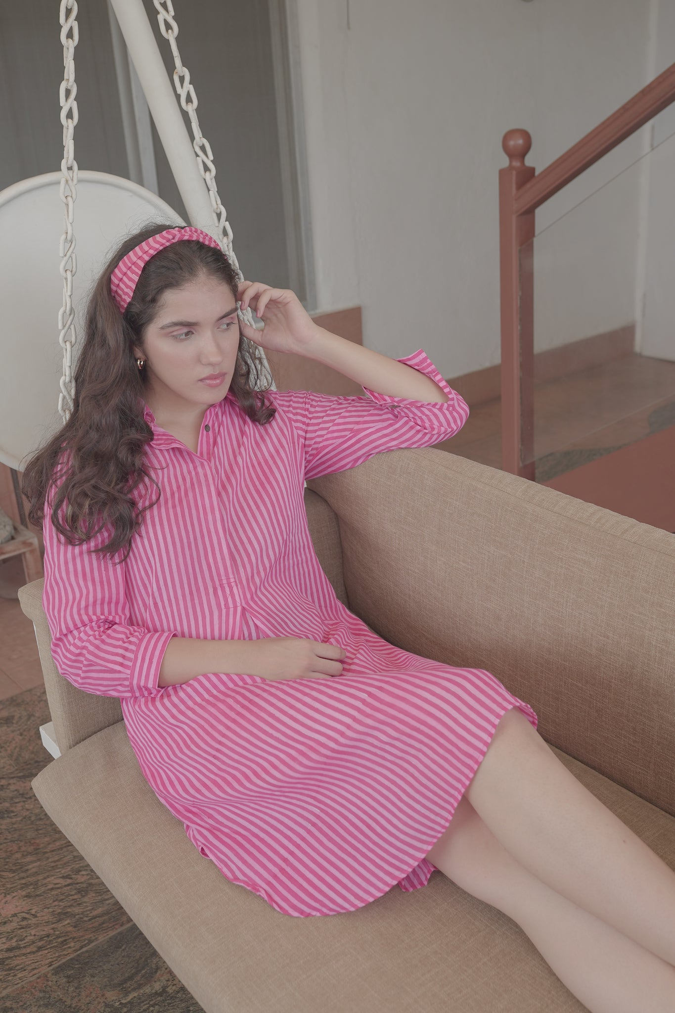 pink stripes cotton kurta shirt