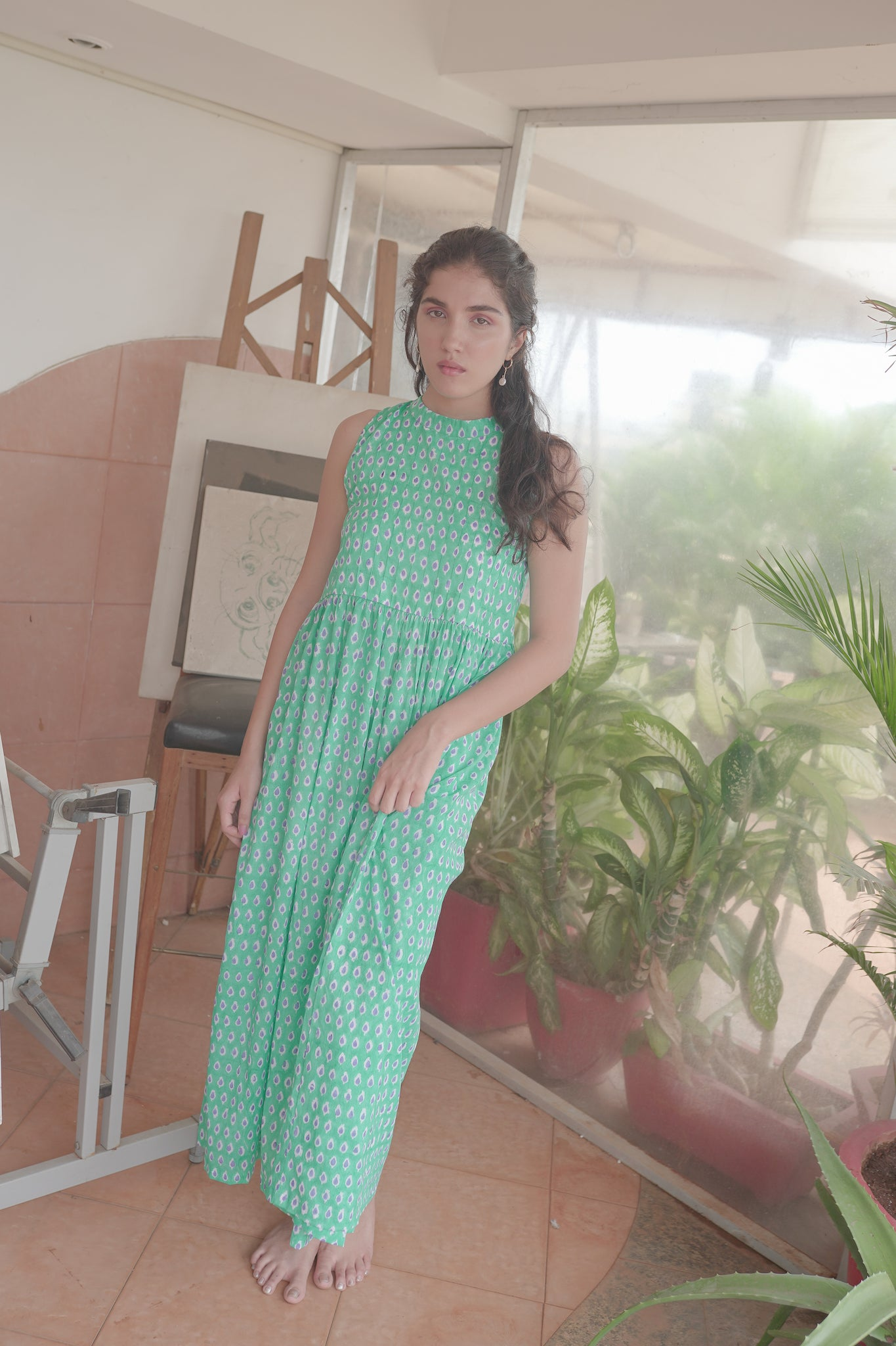 cotton green fit & flare hand block printed maxi dress