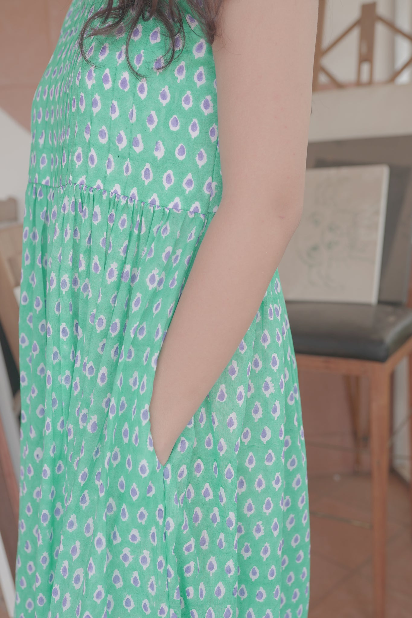 cotton green hand block printed maxi dress with pockets