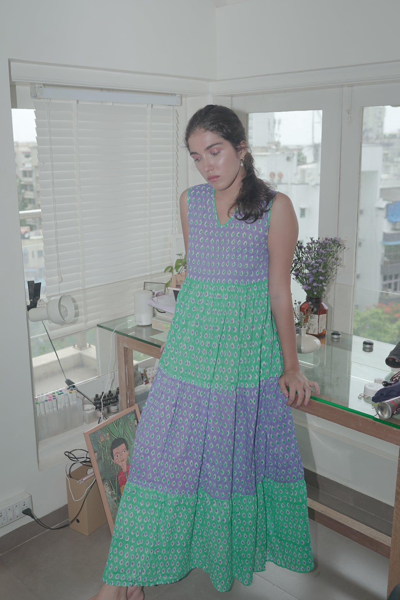 Blue green cotton tiered maxi dress
