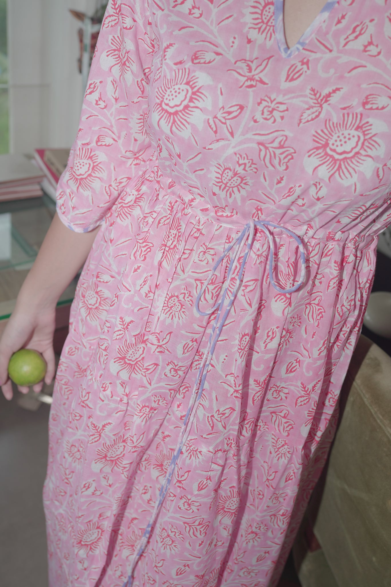 pink & red hand block printed maxi dress kaftan