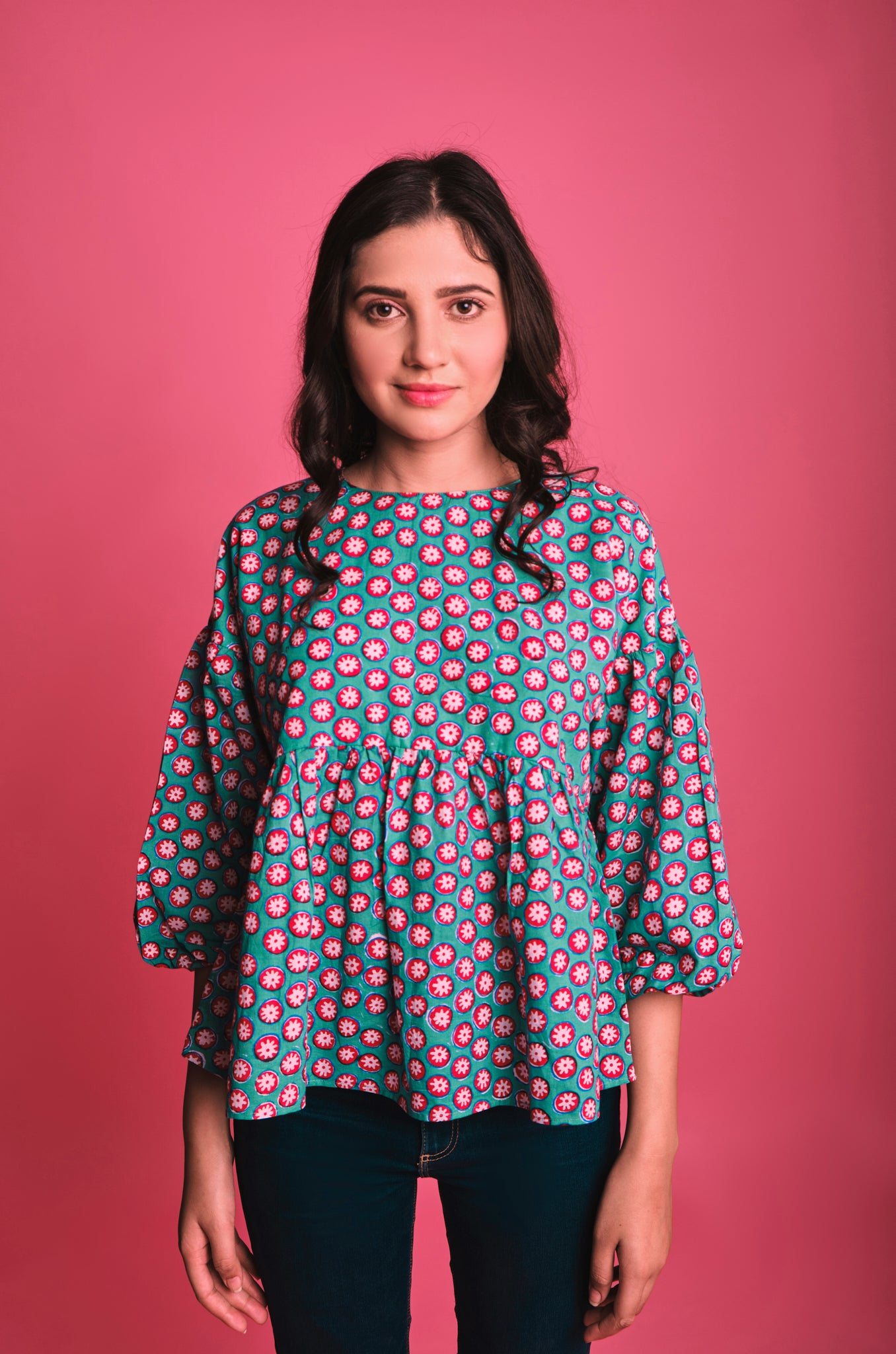 green red cotton flared top with puffed sleeves