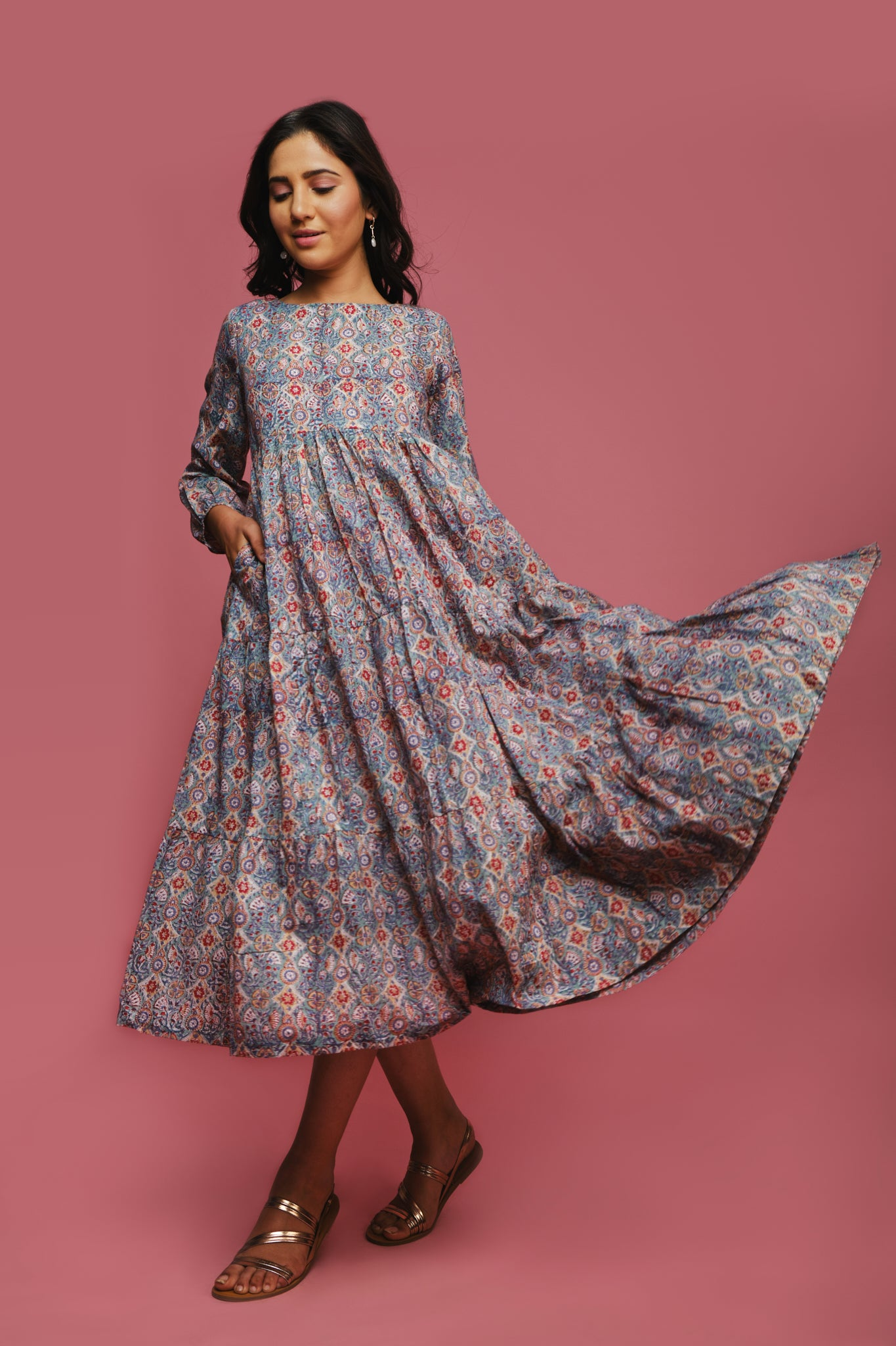 blue comfortable flowy cotton tiered dress
