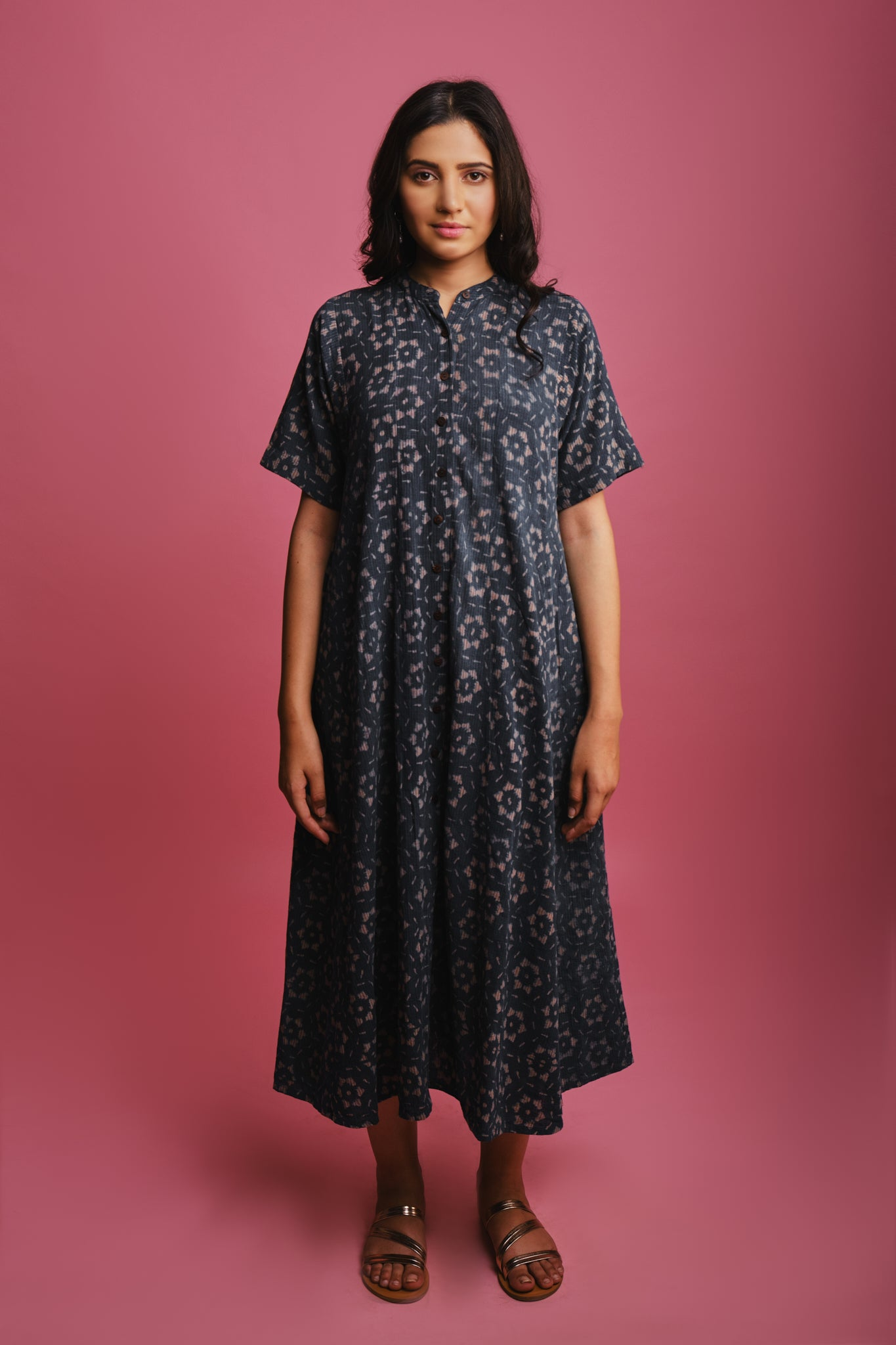 kala cotton organic handwoven button down blue indigo flared maxi long dress