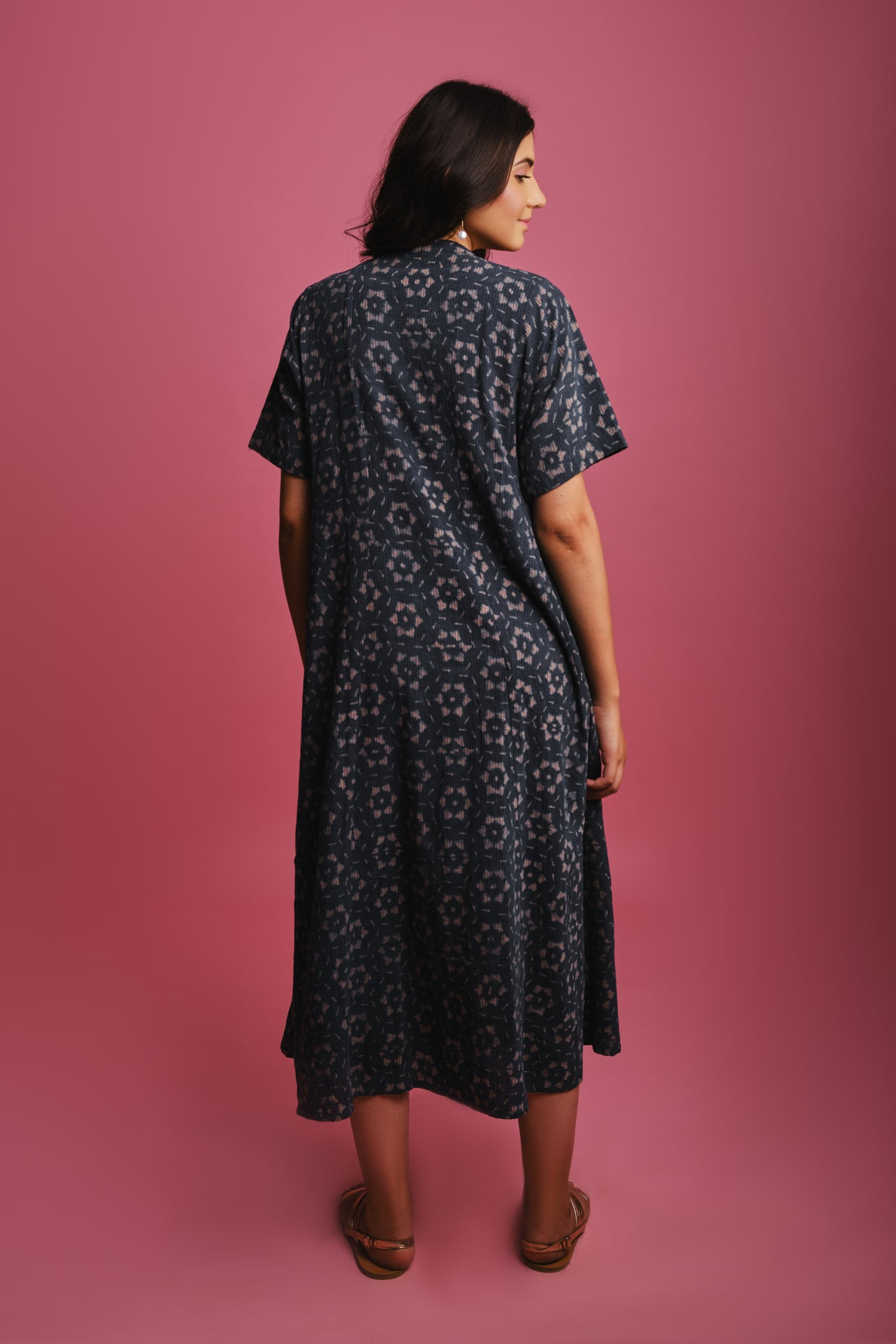 INDIGO LATTICE DRESS