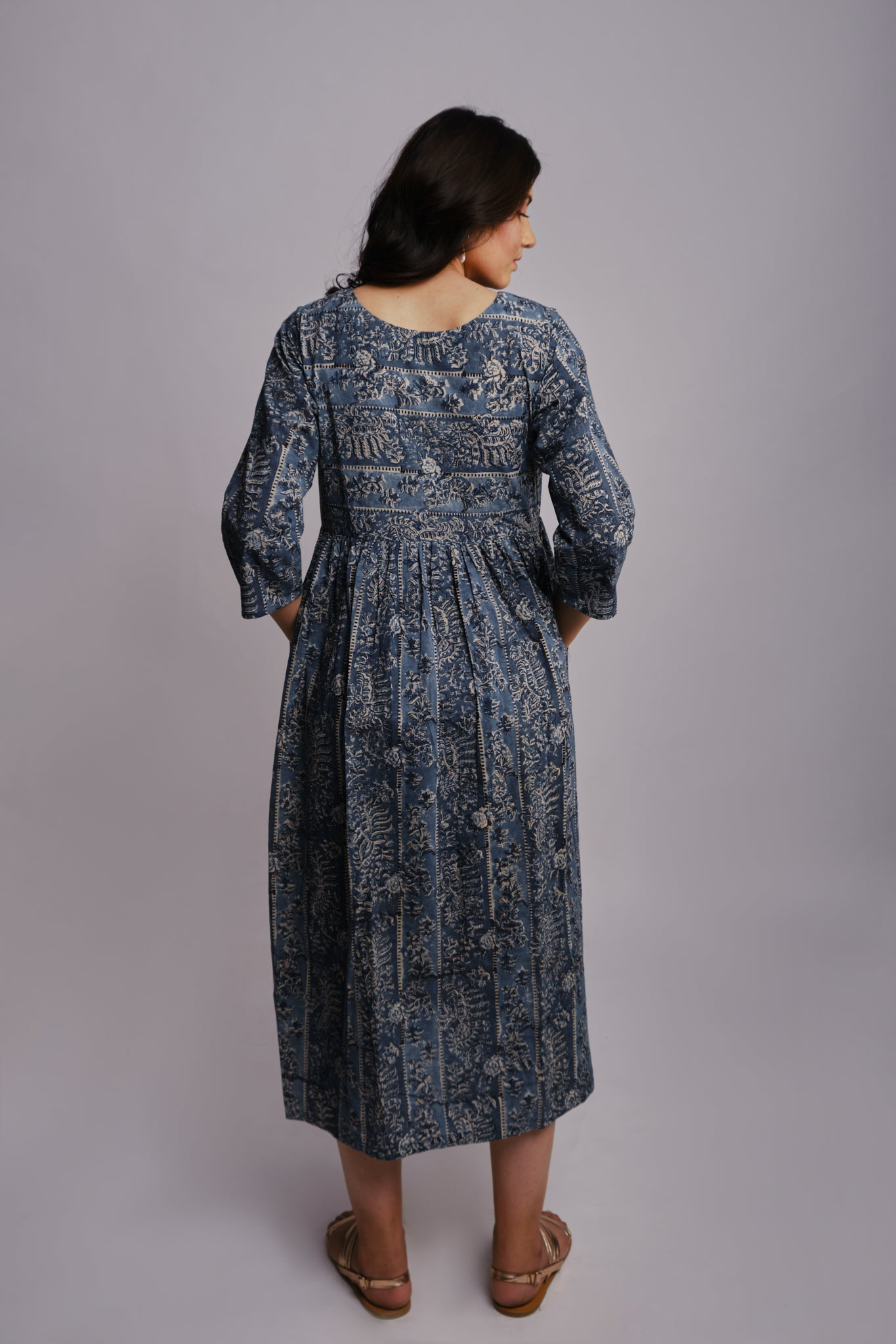 INDIGO TRELLIS DRESS