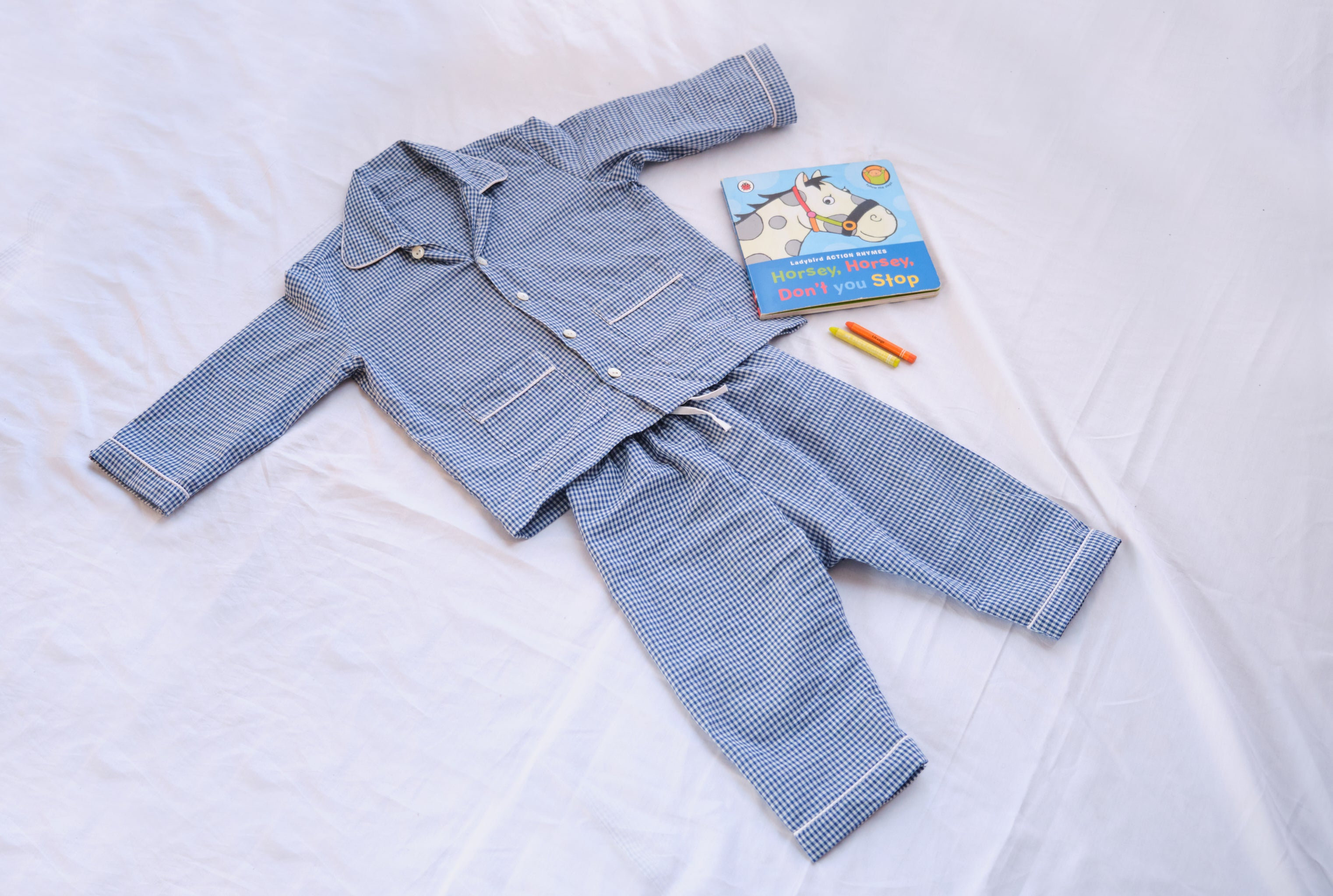 Blue gingham kids PJ set with notch collar & pockets