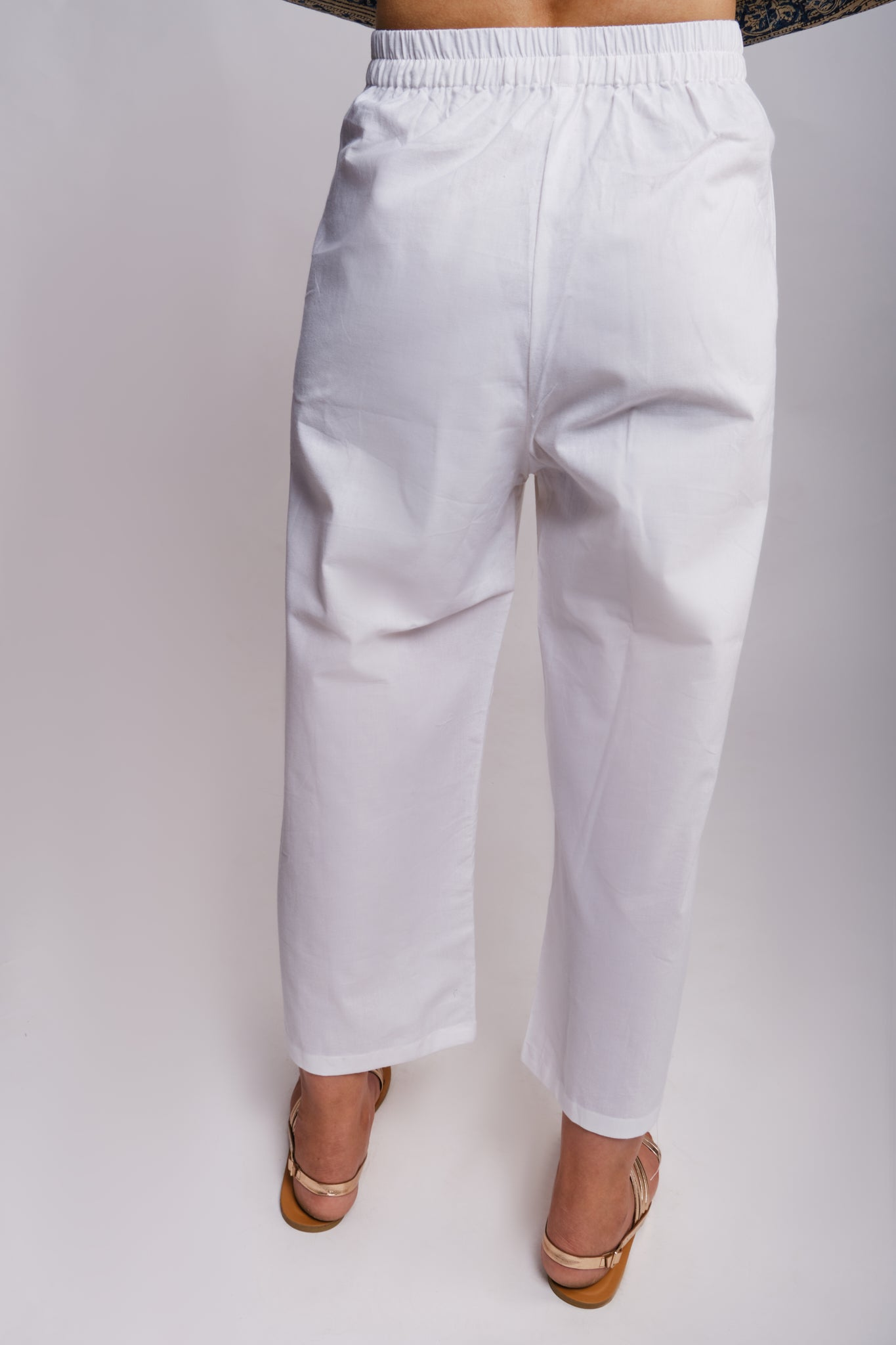 comfortable white cotton straight fit pants with elasticated waistband