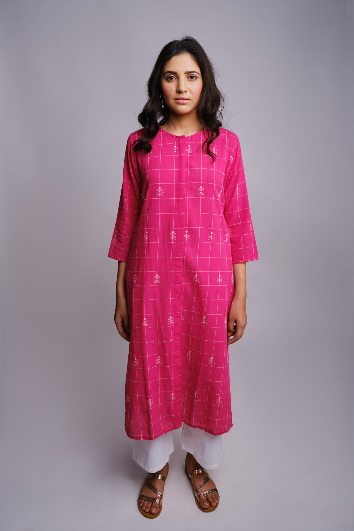 kala cotton organic handwoven button down pink kurta tunic