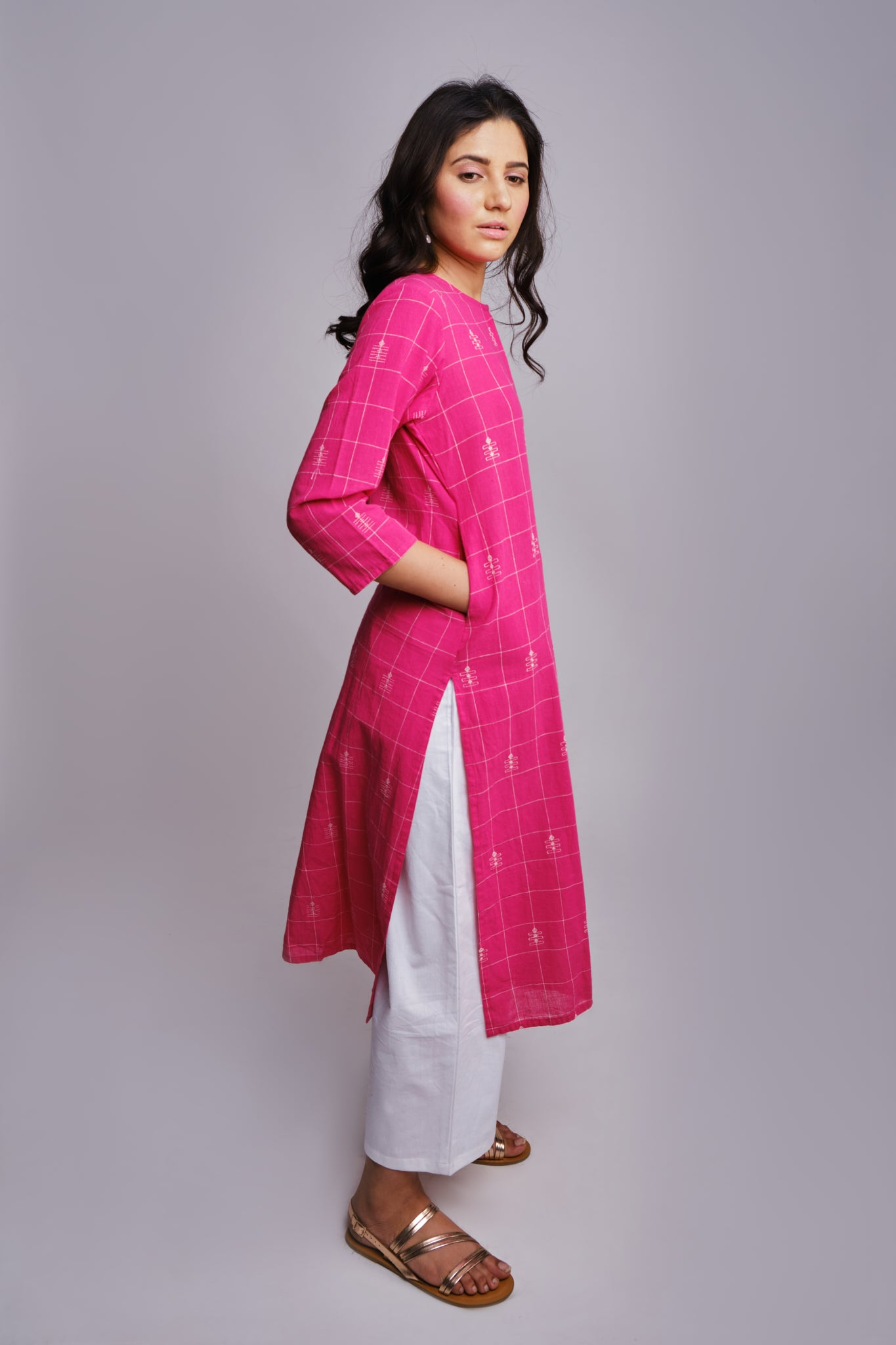 kala cotton organic handwoven pink kurta tunic with pockets