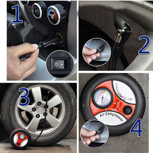Mini Portable Electric Air Compressor Pump Car Tire Inflator Pump Tool 12V 260PSI (Original : CarCCircle)