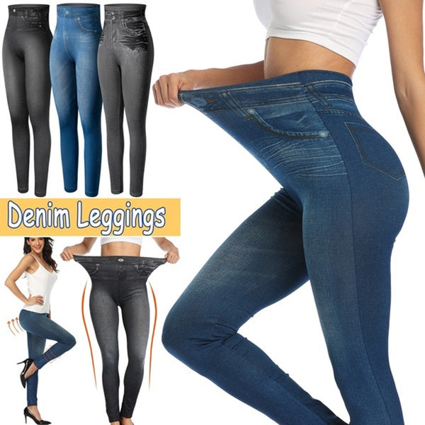 Elastic Fashion Denim Leggings Stretchy Resistant Jean Look Pants  (Original : jmlpant)
