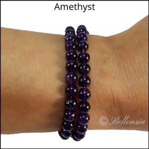 Two rows of Amethyst round gemstones wrapped around wrist