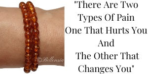 Baltic Amber 6mm Round Gemstones wrapped around wrist with Quote