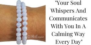 Blue Lace Agate 6mm Gemstones wrapped around wrist with quote