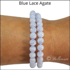 Two rows of blue lace agate round gemstones wrapped around wrist