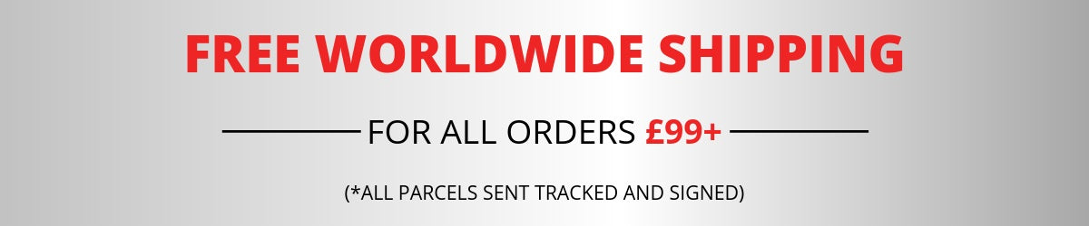 Free Worldwide shipping on all orders £100 plus