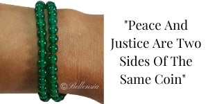 Green Agate 6mm Round Gemstones wrapped around wrist with Quote