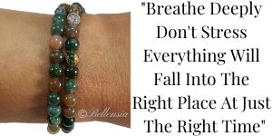 Indian Agate 6mm Round Gemstones wrapped around wrist with Quote