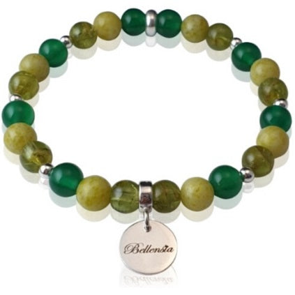 Bracelet with 6mm Round Peridot Jade and Green Agate Gemstones and a Bellensia signature sterling silver charm