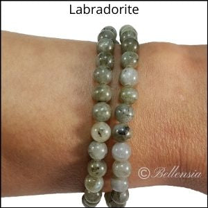 Two rows of labradorite round gemstones wrapped around wrist